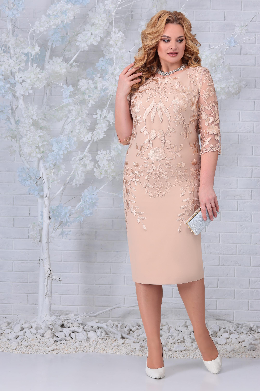 LIA7407 Bēša kleita ar mežģīni