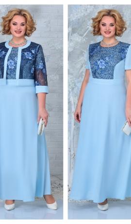 LIA7398 Šifona kleita ar mežģīņu jaciņu