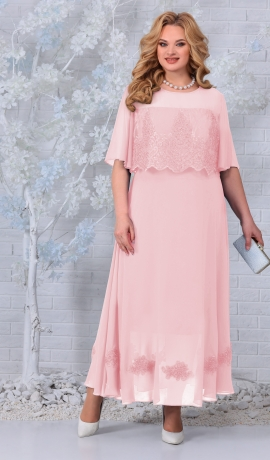 LIA7395 Rozā gara šifona kleita