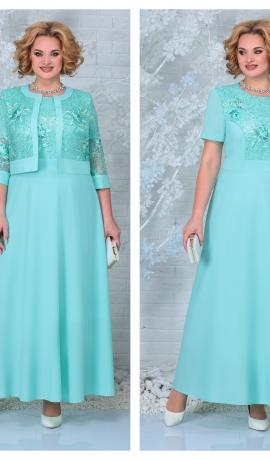 LIA7399 Šifona kleita ar mežģīņu jaciņu