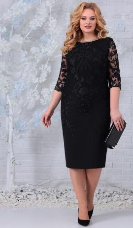 LIA7405 Melna kleita ar mežģīni