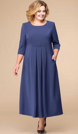 LIA3530 Zila kleita ar kabatām