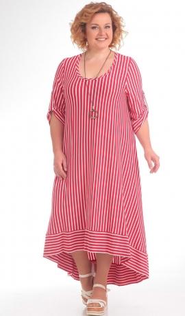 LIA1247 Sarkanas krāsas strīpaina kleita