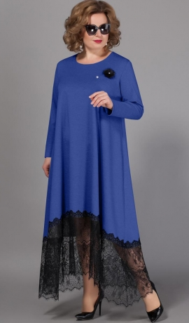 LIA4900 Zila kleita ar mežģīni
