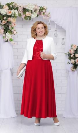 LIA2622 Sarkana kleita ar žaketi