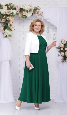 LIA2619 Smaragdzaļa kleita ar žaketi