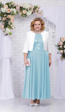 LIA2620 Gaiši zila kleita ar žaketi