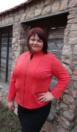 6-0216 Koraļļu krāsas jaka
