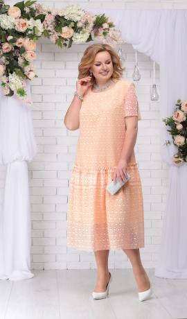 LIA2971 Persiku krāsas kleita
