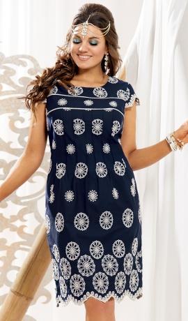 LIA5932 Zila kokvilnas kleita