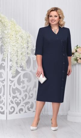 LIA3289 Tumši zila eleganta kleita