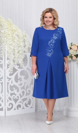 LIA3280 Zila kleita ar ziedu aplikāciju