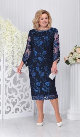 LIA3299 Tumši zila mežģīņu kleita