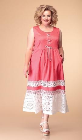 LIA6046 Koraļkrāsas kleita ar mežģīni