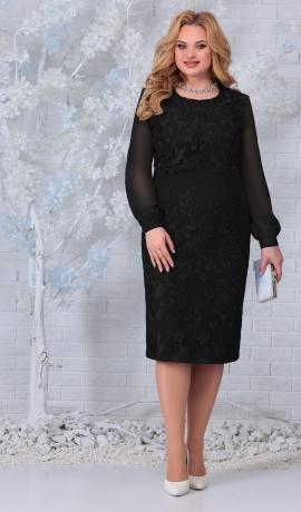 LIA7408 Melna kleita ar mežģīnēm
