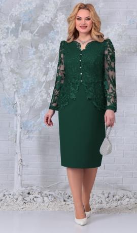 LIA7430 Zaļa kleita ar mežģīnēm