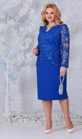 LIA7427 Zila kleita ar mežģīnēm