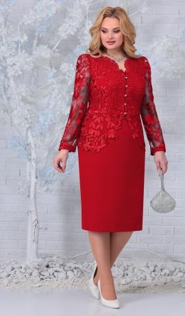 LIA7431 Sarkana kleita ar mežģīnēm