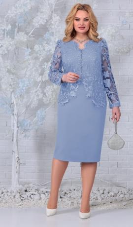 LIA7429 Debess zila kleita ar mežģīnēm