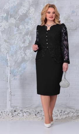 LIA7425 Melna kleita ar mežģīnēm