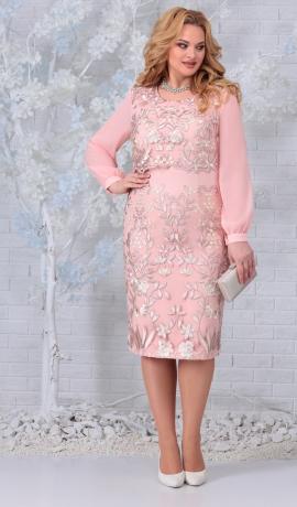 LIA7415 Gaiši rozā kleita ar mežģīnēm