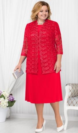 LIA1795 Sarkana kleita ar mežģīņu žaketi