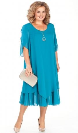 LIA4167 Tirkīzkrāsas šifona kleita