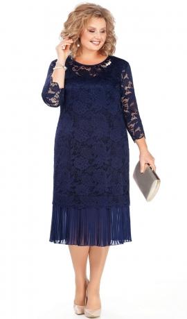 LIA4161 Divu kārtu zila kleita