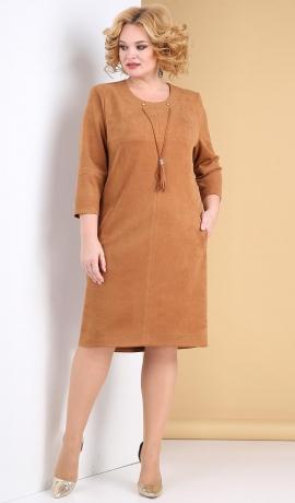 LIA7910 Karameļu krāsas zamšauduma kleita
