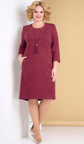 LIA7909 Vīna krāsas zamšauduma kleita