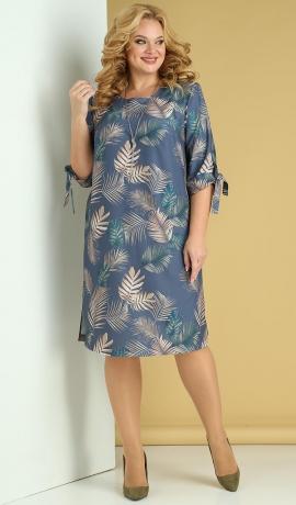 LIA7901 Zila kleita ar lapu rakstu
