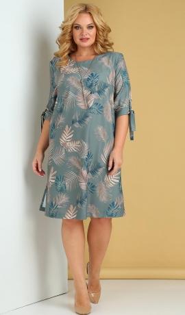 LIA7902 Zila kleita ar lapu rakstu