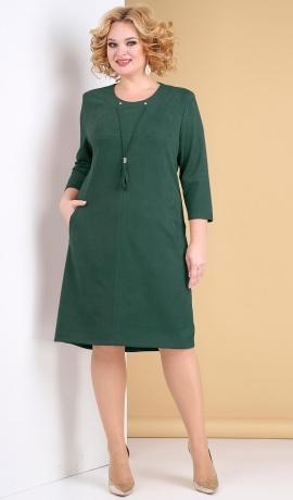 LIA7911 Smaragdzaļa zamšauduma kleita