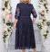 LIA4471 Tumši zila mežģīņu kleita