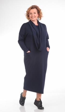 LIA1025 Tumši zila adīta kleita ar noņemamu šalli