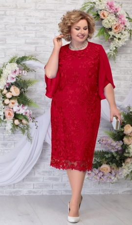 LIA5945 Sarkana kleita ar mežģīni