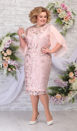 LIA5942 Pūderkrāsas kleita ar mežģīni
