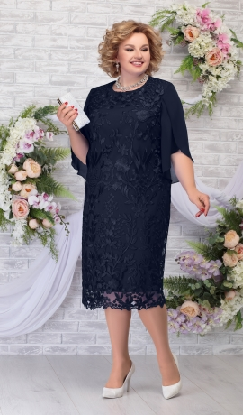 LIA5943 Zila kleita ar mežģīni