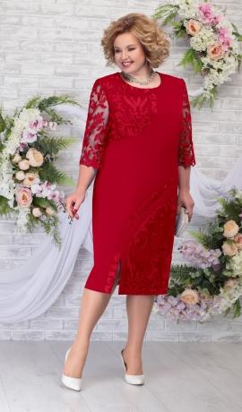 LIA5954 Sarkana kleita ar mežģīņu piedurknēm