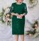 LIA5955 Smaragdzaļa kleita ar mežģīņu piedurknēm