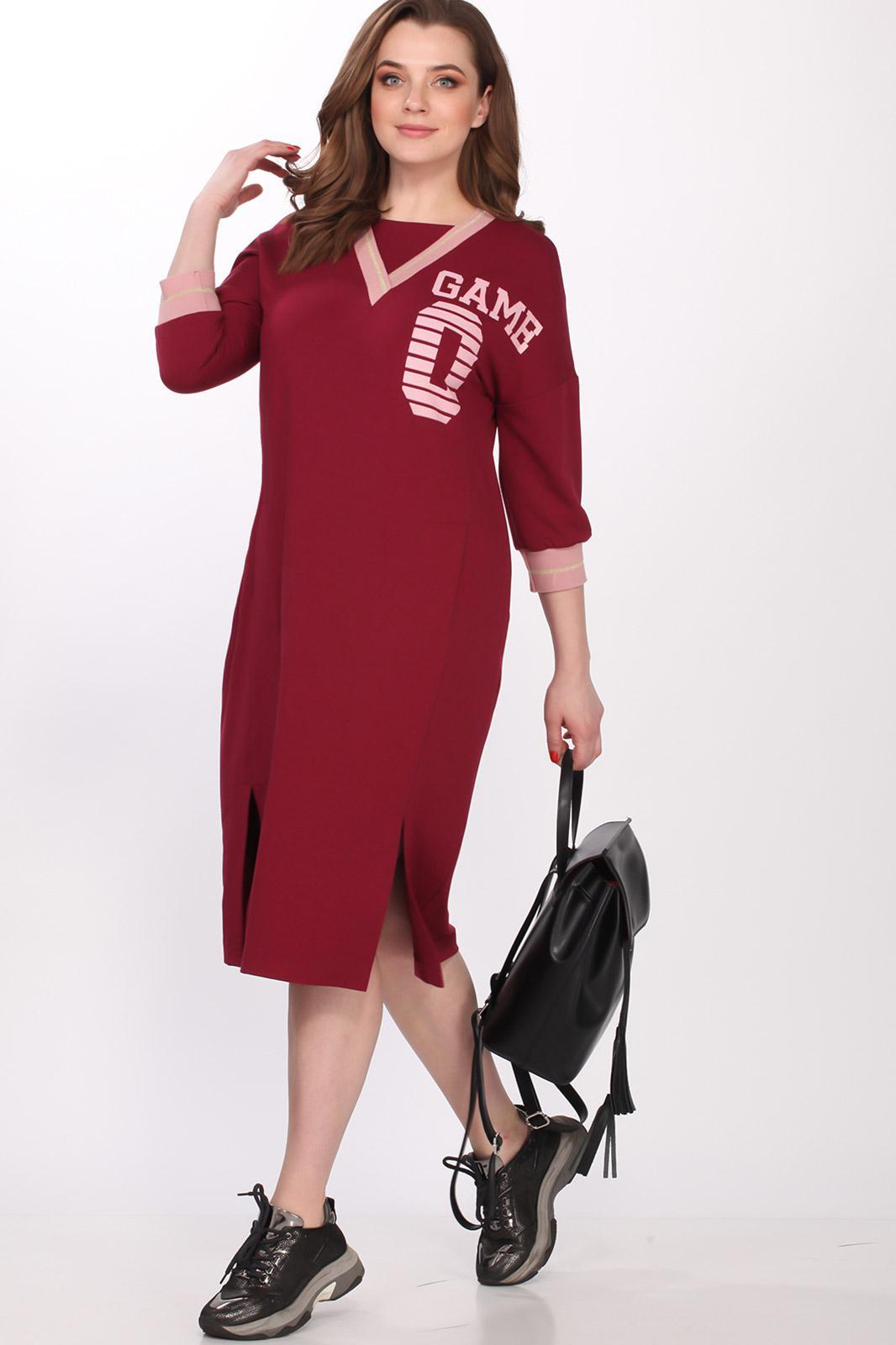 3-1058 Bordo sportiska stila kleita