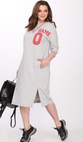 3-1057 Pelēka sportiska stila kleita