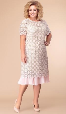 LIA3851 Gaiši rozā mežģīņu kleita