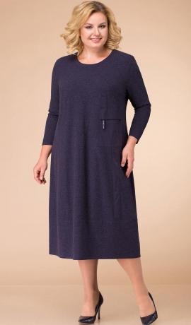 LIA3862 Tumši zila trikotāžas kleita