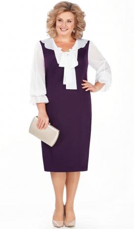 LIA4202 Violeta kleita ar šifona piedurknēm un banti