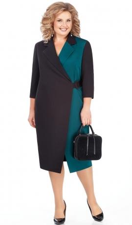 LIA4198 Melna/tirkīzkrāsas kleita