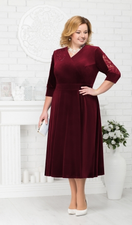 LIA1981 Bordo krāsas samta kleita