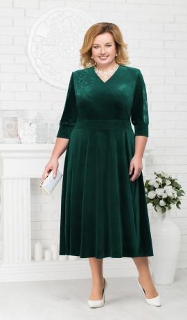 LIA1982 Smaragdzaļa samta kleita