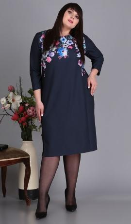 LIA5234 Zila kleita ar ziediem