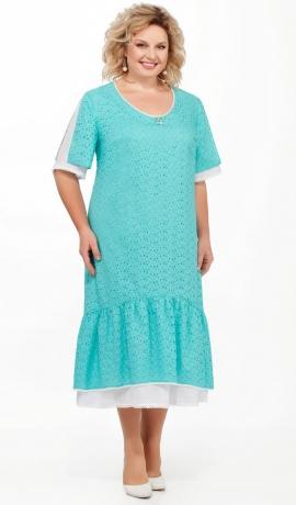 LIA5474 Tirkīzkrāsas kokvilnas kleita